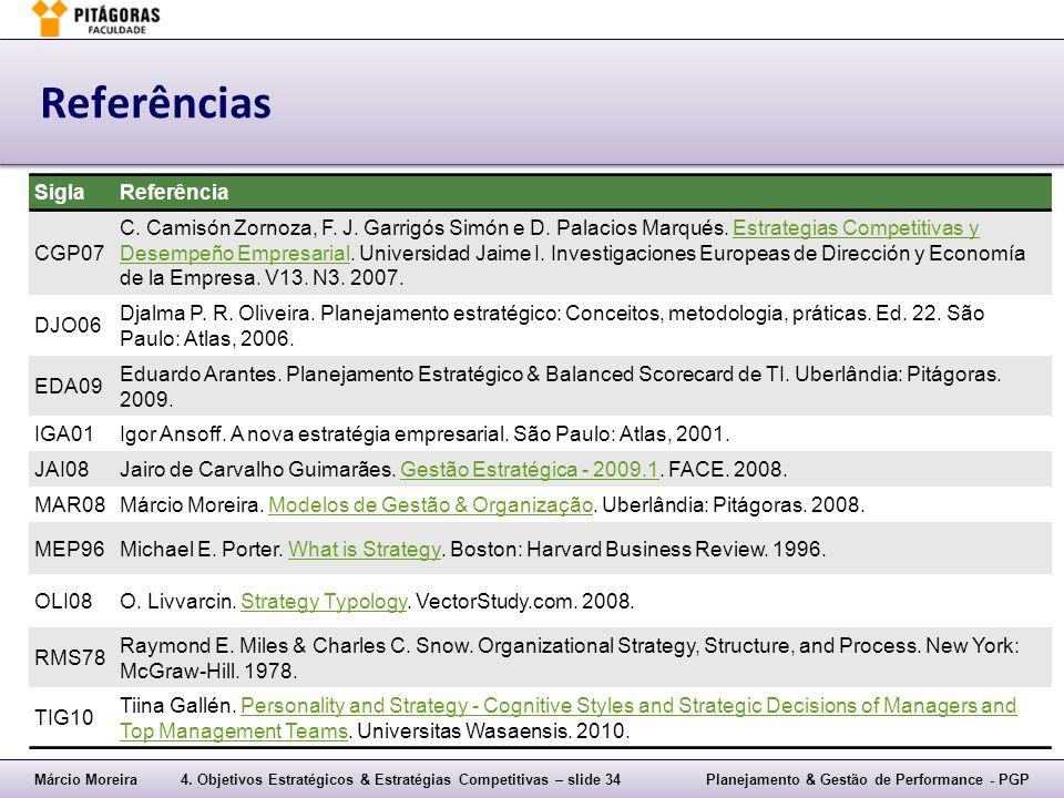 Referências Sigla Referência CGP07