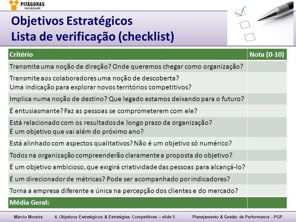 Objetivos Estratégicos Lista de verificação (checklist)