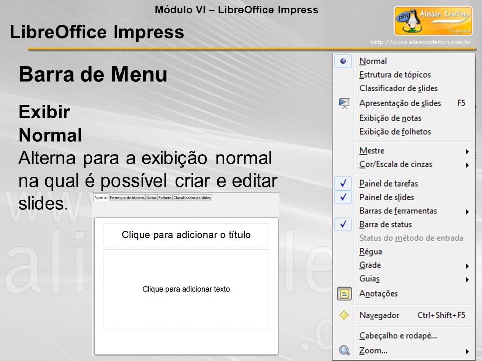 Barra de Menu LibreOffice Impress Exibir Normal