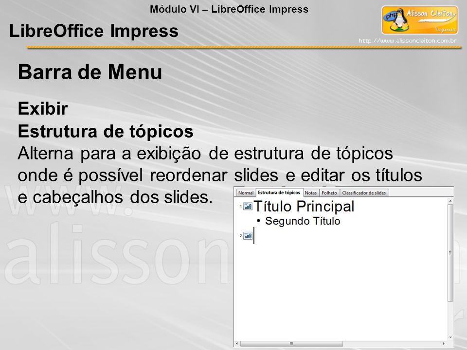 Barra de Menu LibreOffice Impress Exibir Estrutura de tópicos