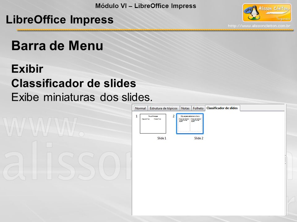 Barra de Menu LibreOffice Impress Exibir Classificador de slides