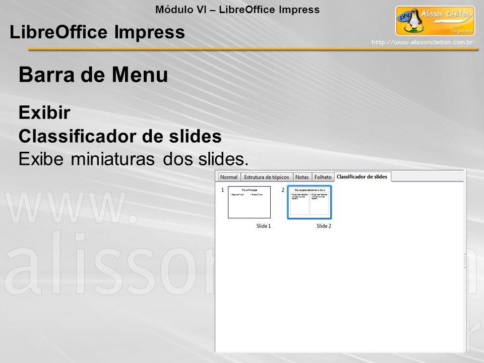 Barra de Menu LibreOffice Impress Exibir Classificador de slides