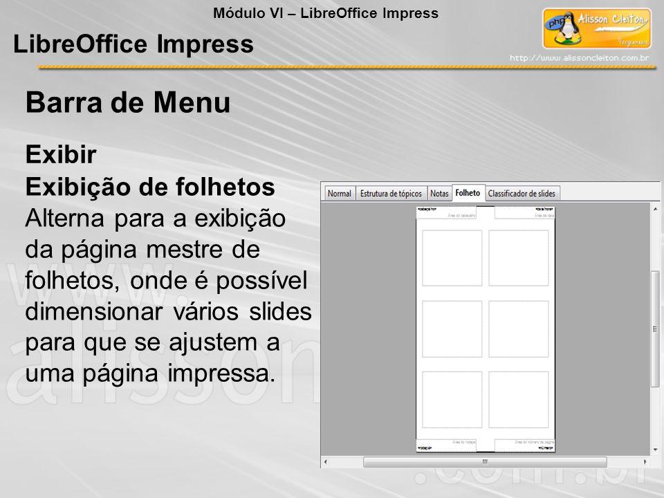 Barra de Menu LibreOffice Impress Exibir Exibição de folhetos