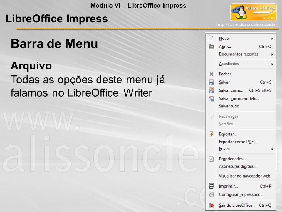 Barra de Menu LibreOffice Impress Arquivo