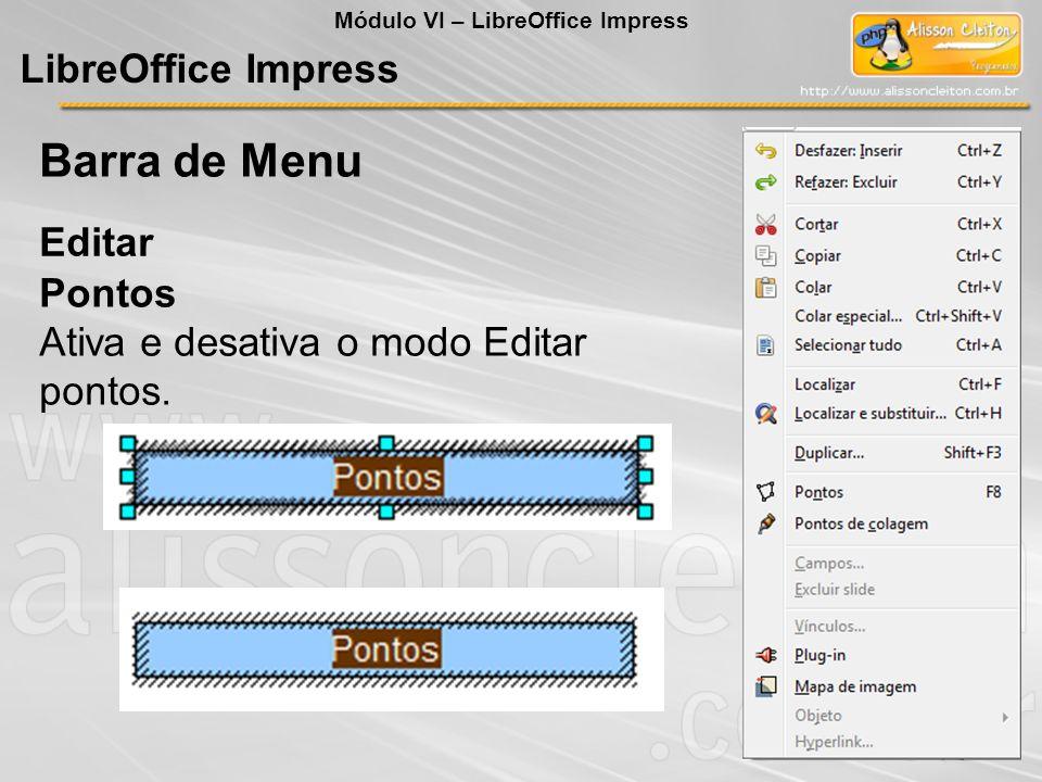 Barra de Menu LibreOffice Impress Editar Pontos