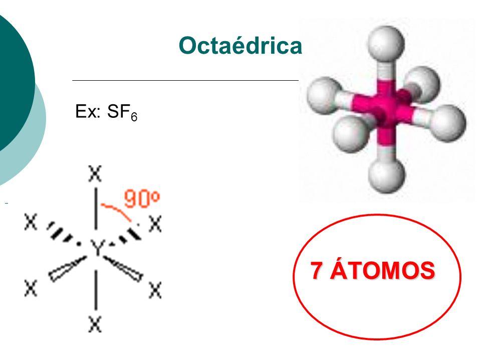 Octaédrica Ex: SF6 7 ÁTOMOS