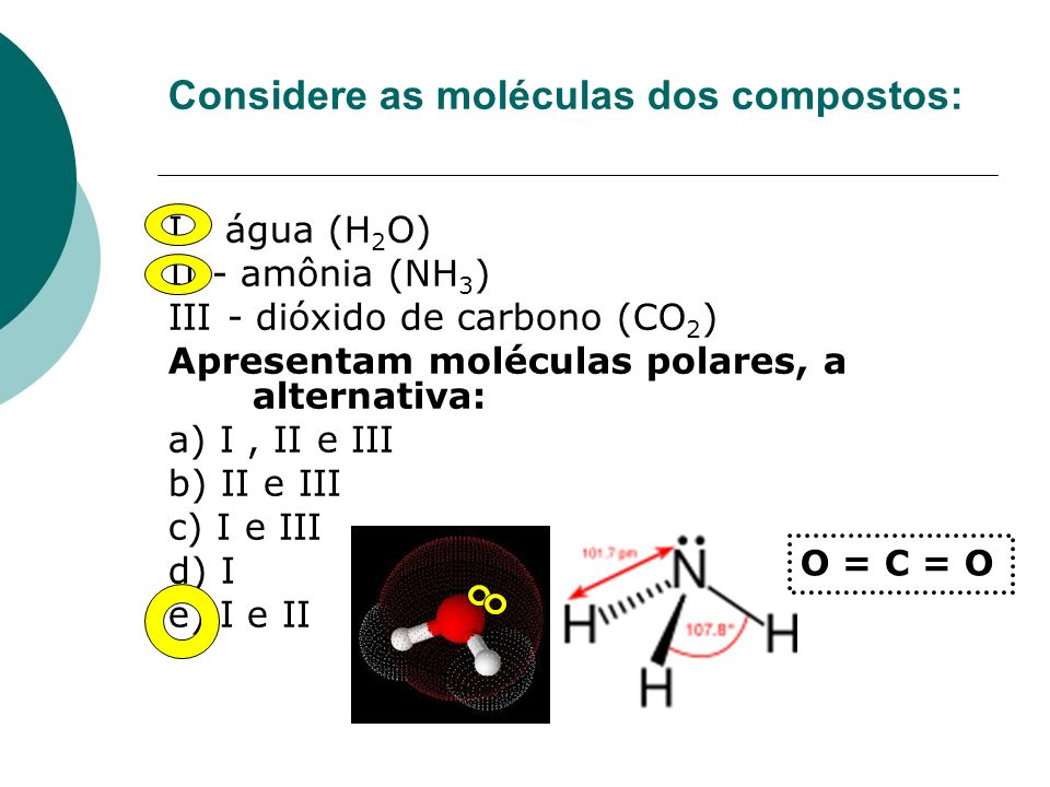 Considere as moléculas dos compostos: