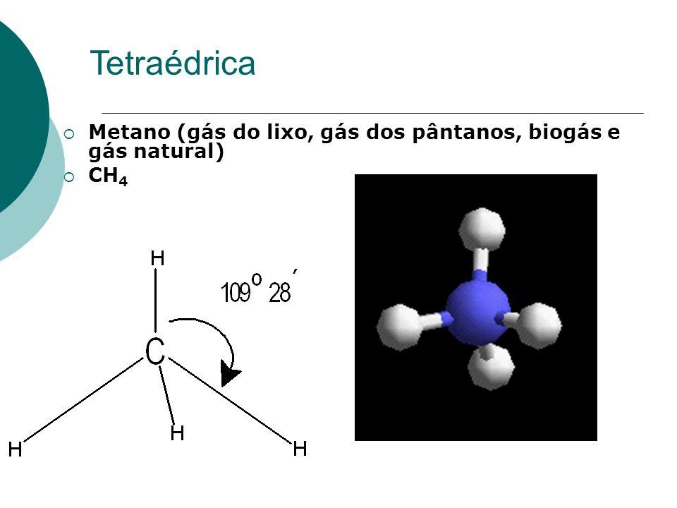 Tetraédrica Metano (gás do lixo, gás dos pântanos, biogás e gás natural) CH4