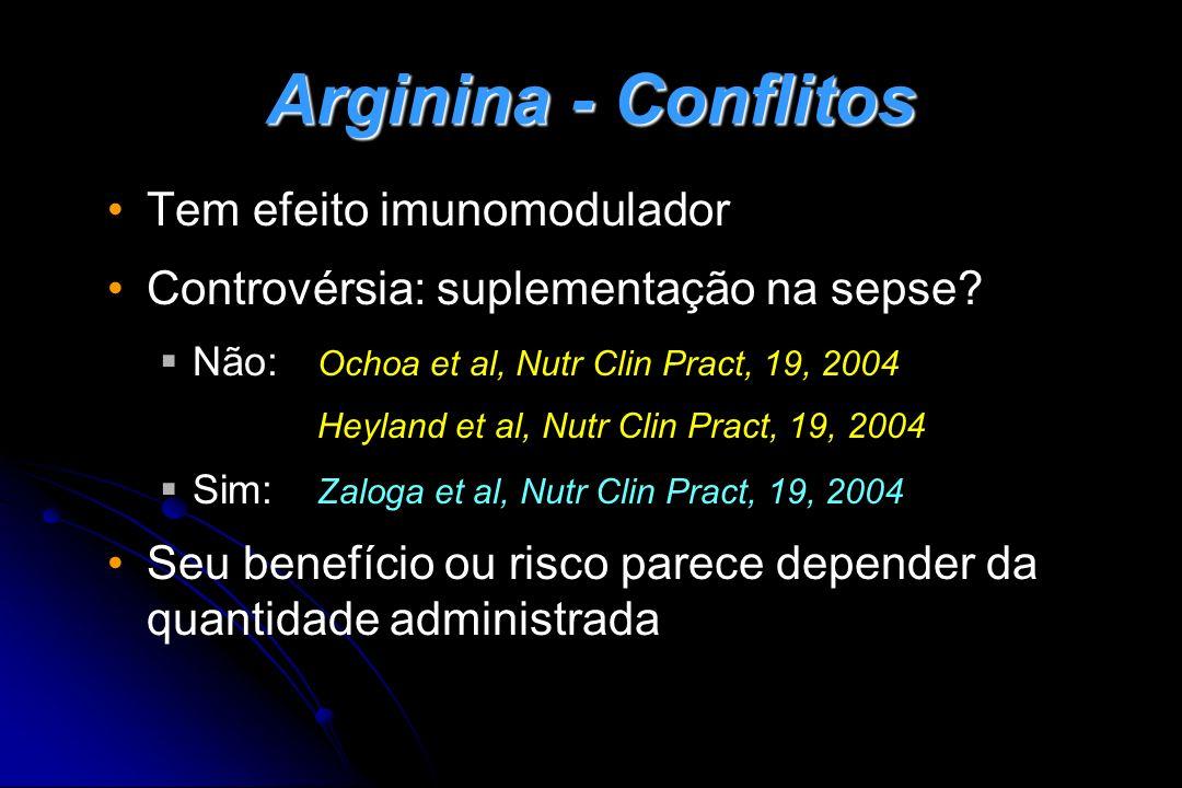 Arginina - Conflitos Tem efeito imunomodulador