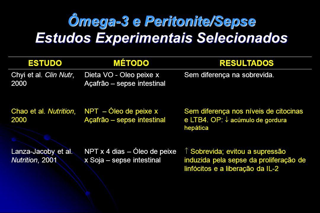 Ômega-3 e Peritonite/Sepse Estudos Experimentais Selecionados