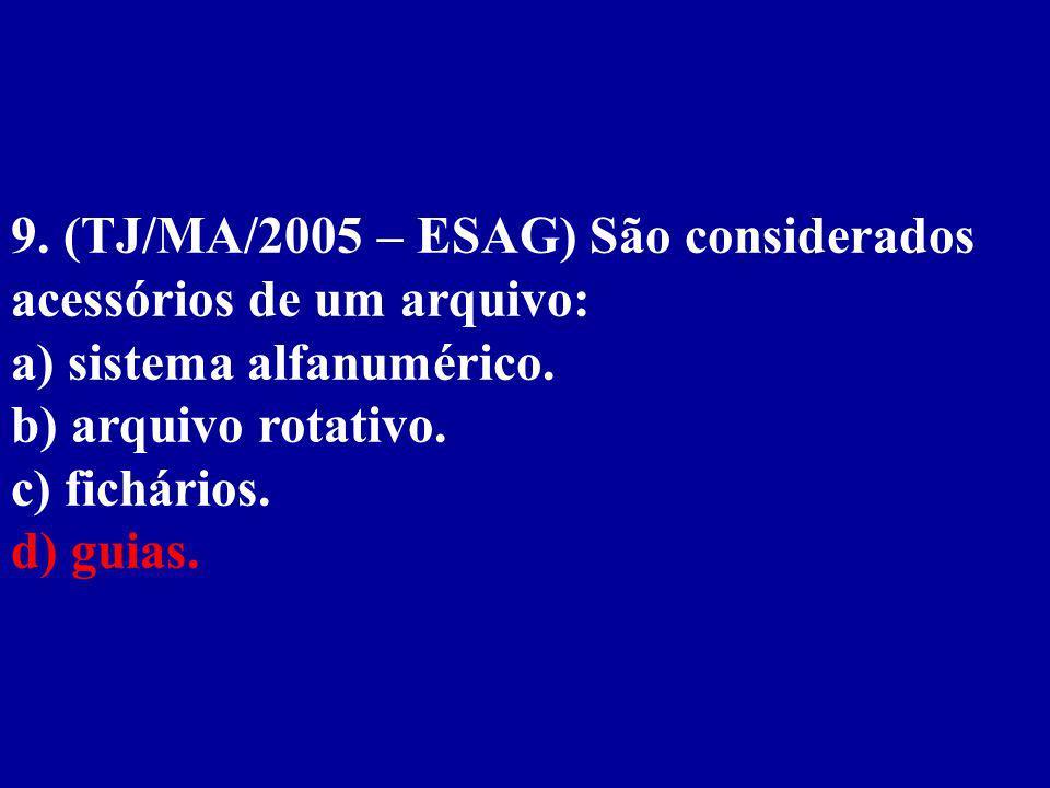 9. (TJ/MA/2005 – ESAG) São considerados acessórios de um arquivo: