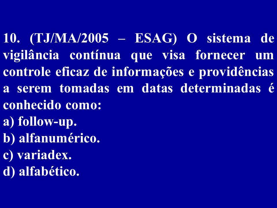 10. (TJ/MA/2005 – ESAG) O sistema de vigilância contínua que visa fornecer um controle eficaz de informações e providências a serem tomadas em datas determinadas é conhecido como: