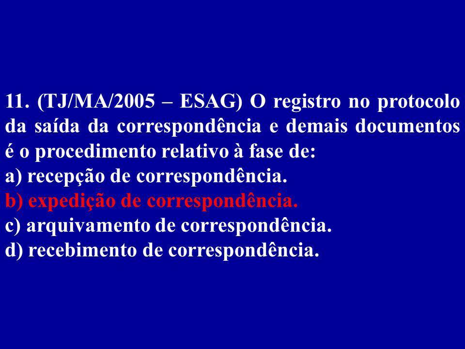 11. (TJ/MA/2005 – ESAG) O registro no protocolo da saída da correspondência e demais documentos é o procedimento relativo à fase de: