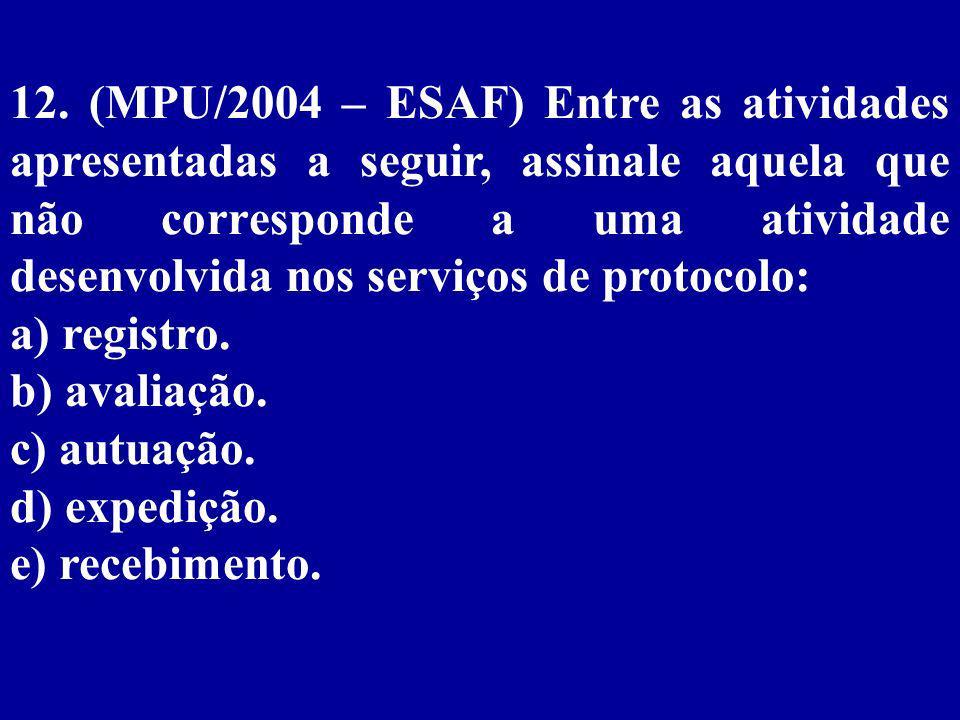 12. (MPU/2004 – ESAF) Entre as atividades apresentadas a seguir, assinale aquela que não corresponde a uma atividade desenvolvida nos serviços de protocolo: