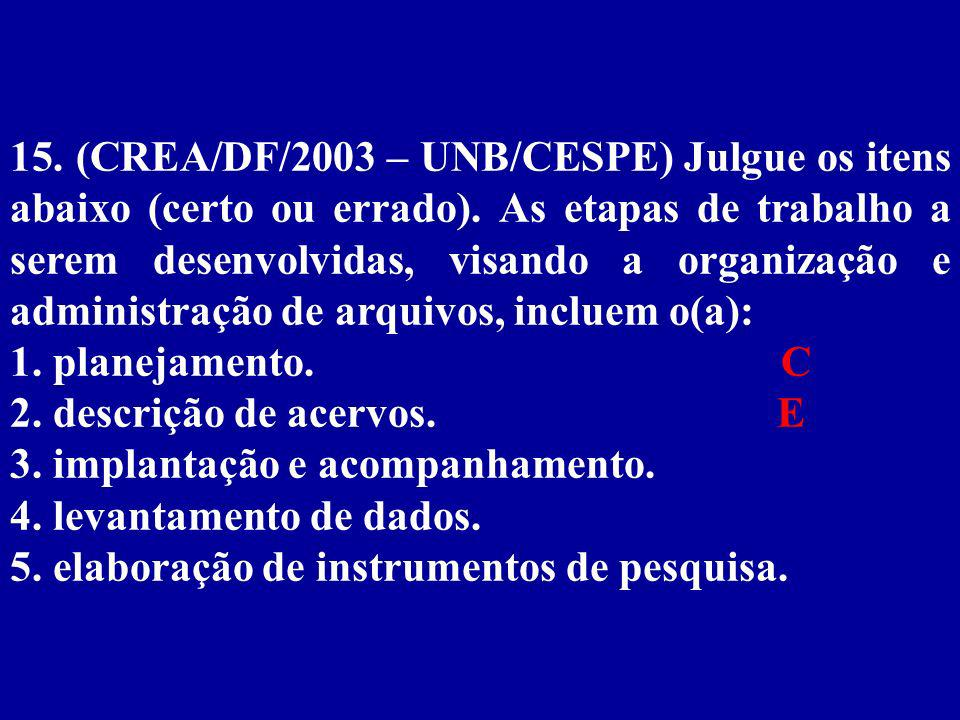 15. (CREA/DF/2003 – UNB/CESPE) Julgue os itens abaixo (certo ou errado). As etapas de trabalho a serem desenvolvidas, visando a organização e administração de arquivos, incluem o(a):