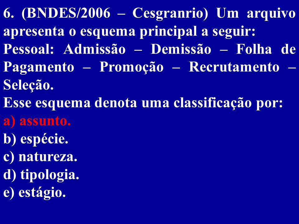 6. (BNDES/2006 – Cesgranrio) Um arquivo apresenta o esquema principal a seguir: