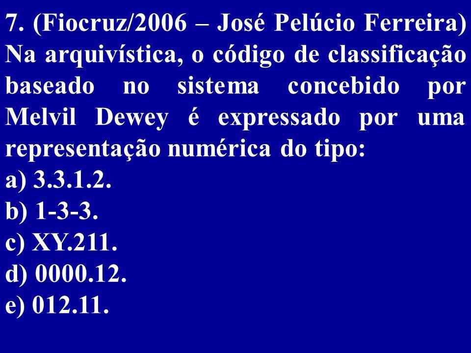 7. (Fiocruz/2006 – José Pelúcio Ferreira) Na arquivística, o código de classificação baseado no sistema concebido por Melvil Dewey é expressado por uma representação numérica do tipo: