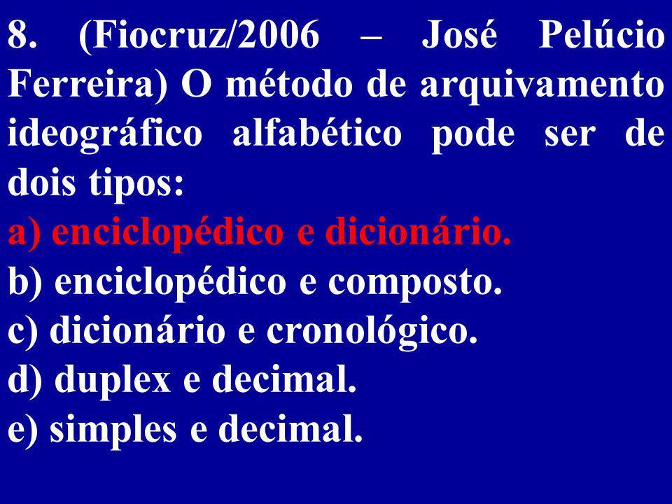 8. (Fiocruz/2006 – José Pelúcio Ferreira) O método de arquivamento ideográfico alfabético pode ser de dois tipos: