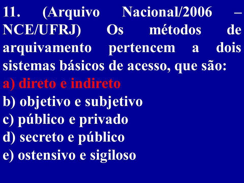11. (Arquivo Nacional/2006 – NCE/UFRJ) Os métodos de arquivamento pertencem a dois sistemas básicos de acesso, que são: