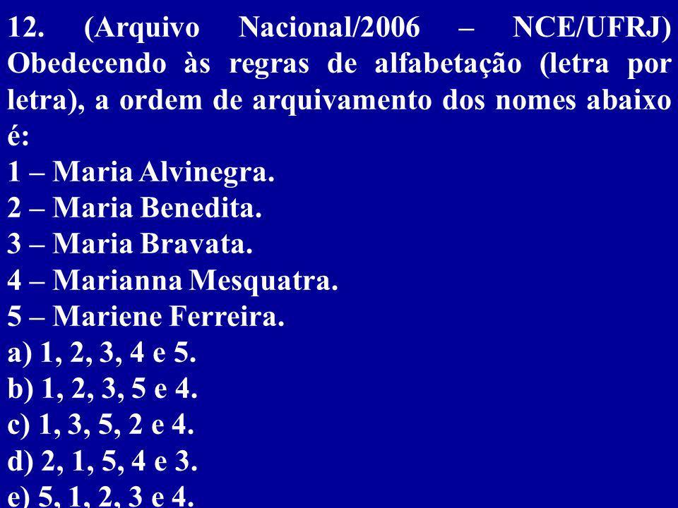 12. (Arquivo Nacional/2006 – NCE/UFRJ) Obedecendo às regras de alfabetação (letra por letra), a ordem de arquivamento dos nomes abaixo é:
