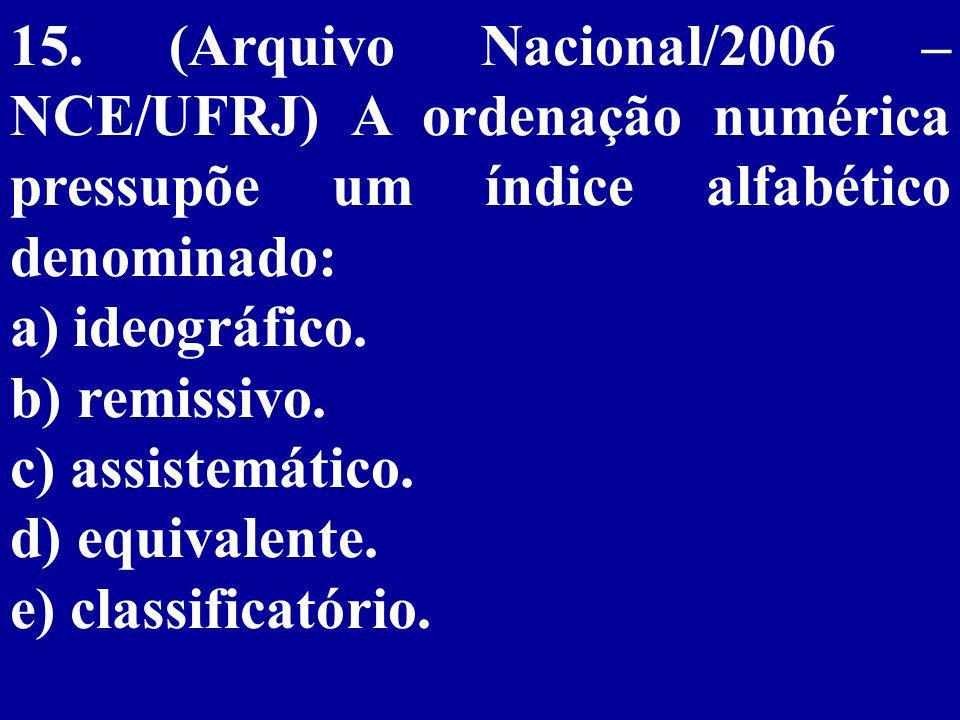 15. (Arquivo Nacional/2006 – NCE/UFRJ) A ordenação numérica pressupõe um índice alfabético denominado: