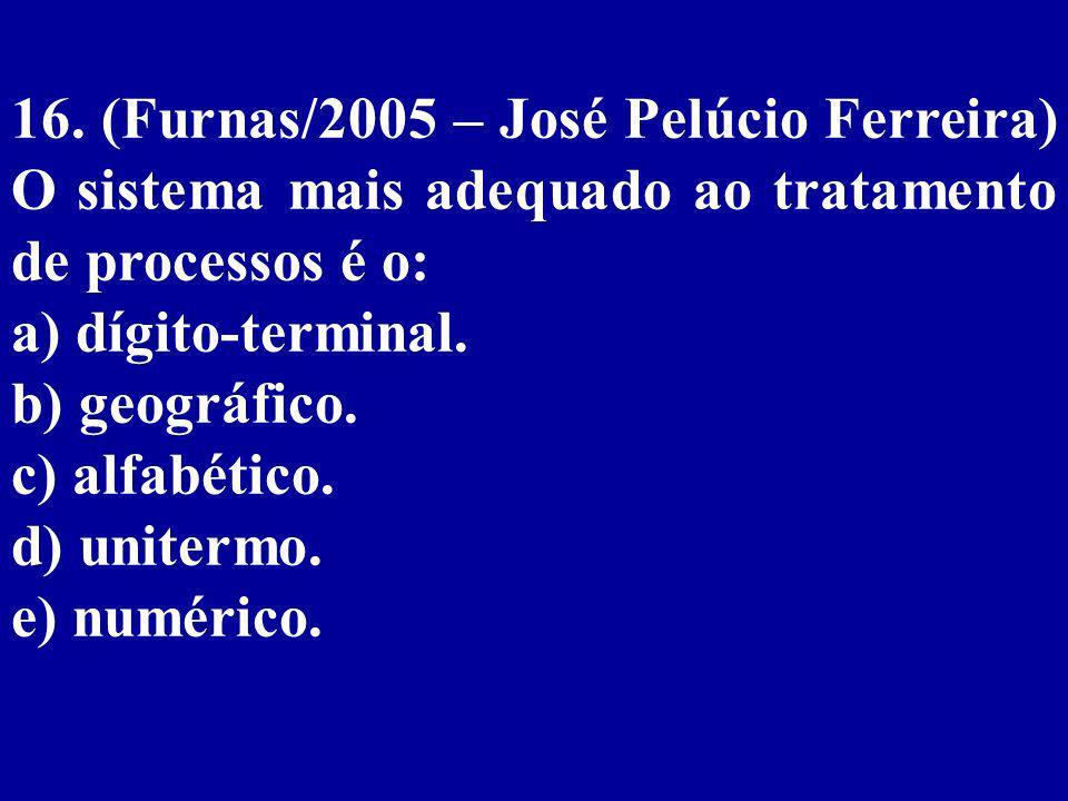 16. (Furnas/2005 – José Pelúcio Ferreira) O sistema mais adequado ao tratamento de processos é o: