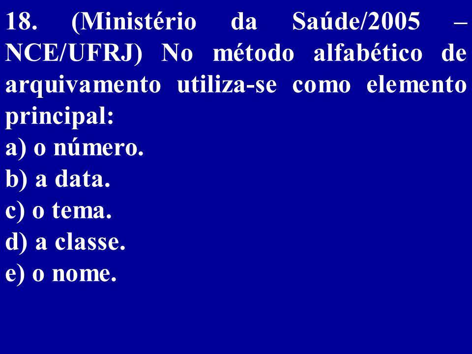 18. (Ministério da Saúde/2005 – NCE/UFRJ) No método alfabético de arquivamento utiliza-se como elemento principal: