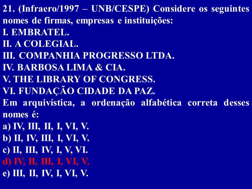 21. (Infraero/1997 – UNB/CESPE) Considere os seguintes nomes de firmas, empresas e instituições:
