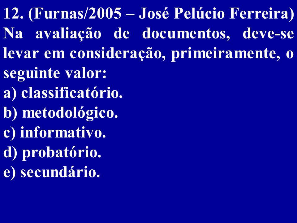 12. (Furnas/2005 – José Pelúcio Ferreira) Na avaliação de documentos, deve-se levar em consideração, primeiramente, o seguinte valor: