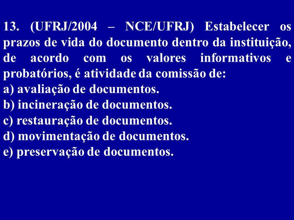 13. (UFRJ/2004 – NCE/UFRJ) Estabelecer os prazos de vida do documento dentro da instituição, de acordo com os valores informativos e probatórios, é atividade da comissão de: