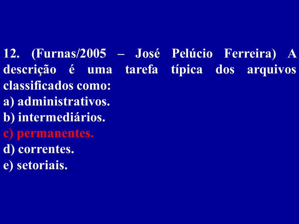 12. (Furnas/2005 – José Pelúcio Ferreira) A descrição é uma tarefa típica dos arquivos classificados como: