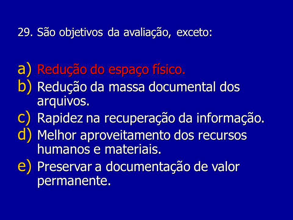 Redução do espaço físico. Redução da massa documental dos arquivos.
