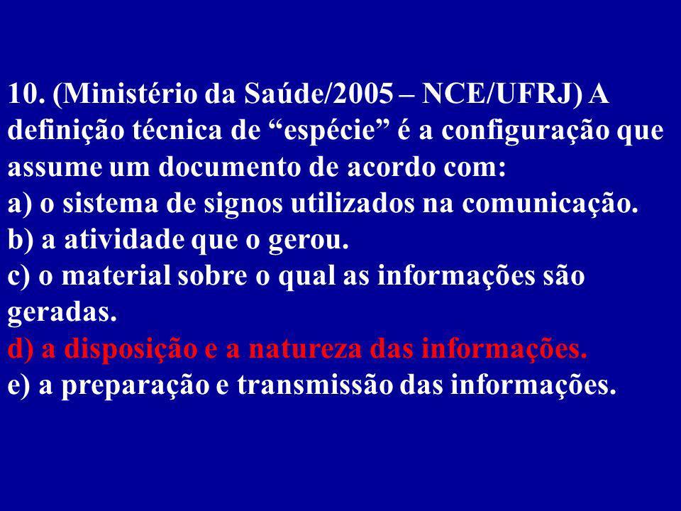 10. (Ministério da Saúde/2005 – NCE/UFRJ) A definição técnica de espécie é a configuração que assume um documento de acordo com: