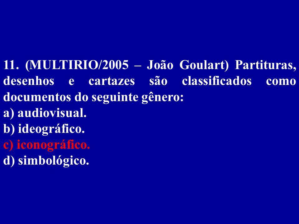 11. (MULTIRIO/2005 – João Goulart) Partituras, desenhos e cartazes são classificados como documentos do seguinte gênero: