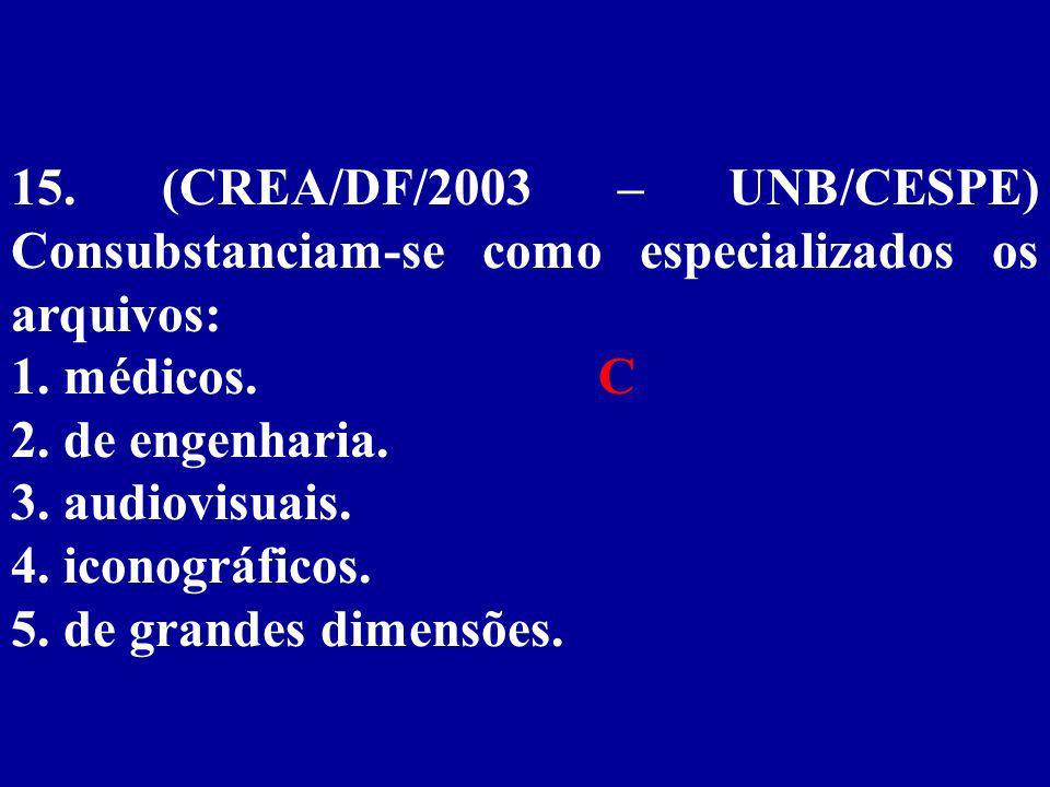 15. (CREA/DF/2003 – UNB/CESPE) Consubstanciam-se como especializados os arquivos: