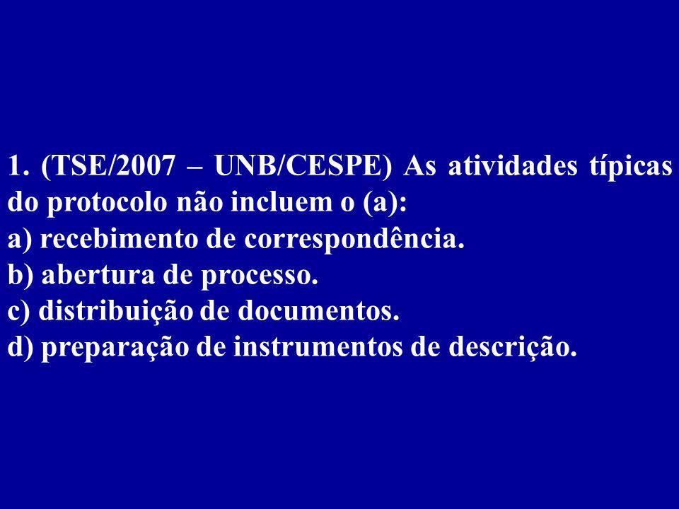 1. (TSE/2007 – UNB/CESPE) As atividades típicas do protocolo não incluem o (a):