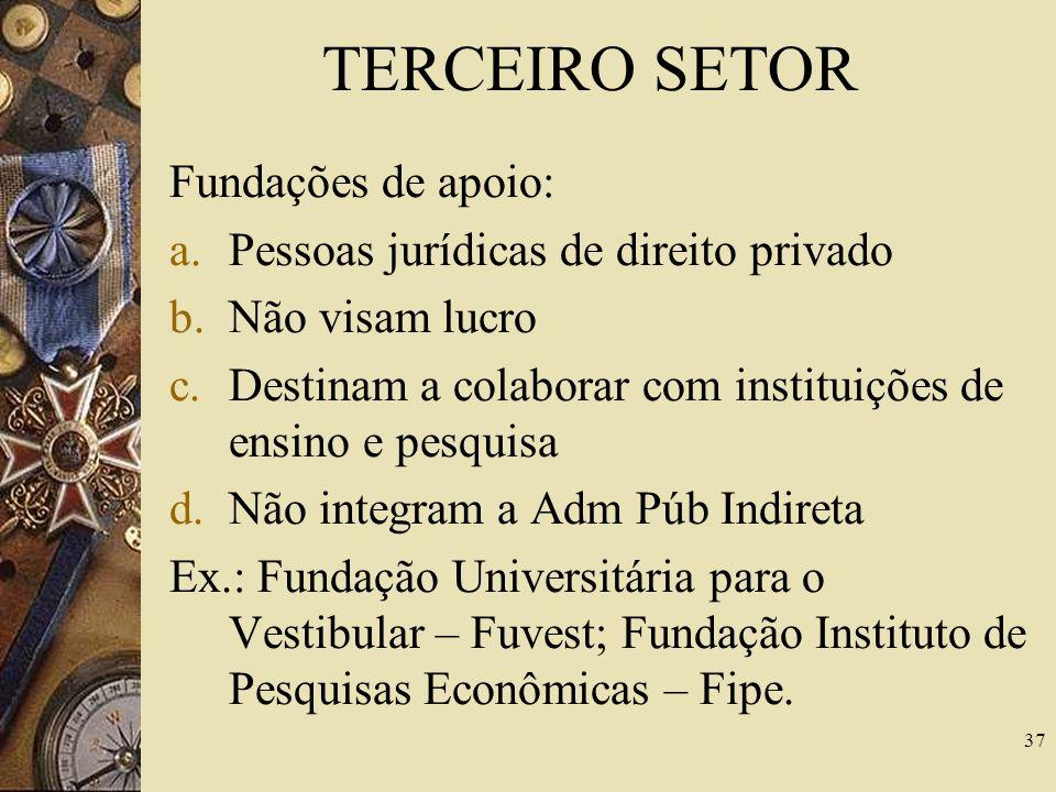 TERCEIRO SETOR Fundações de apoio: