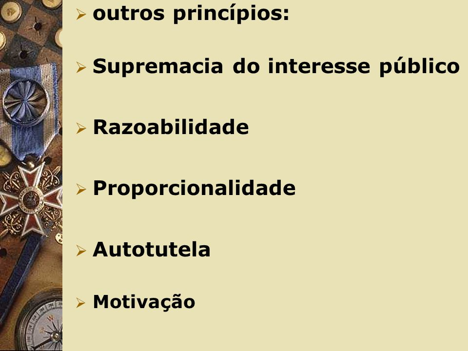 Outros princípios de Direito Administrativo