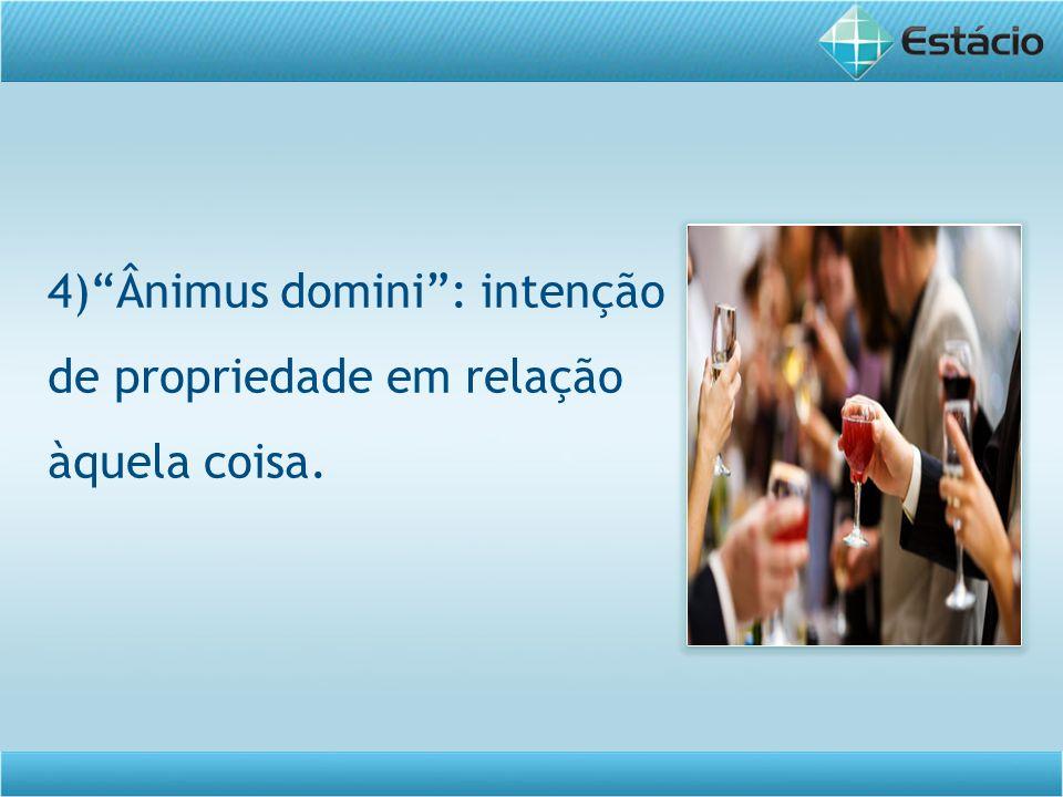 4) Ânimus domini : intenção de propriedade em relação àquela coisa.