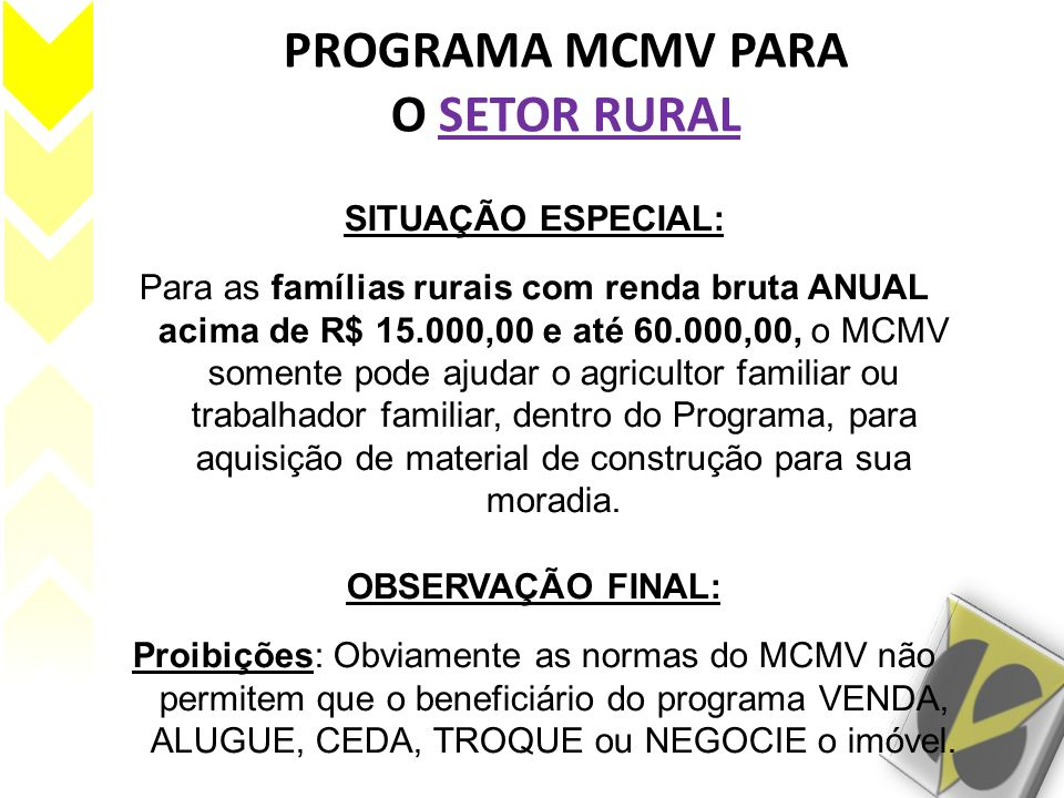 PROGRAMA MCMV PARA O SETOR RURAL