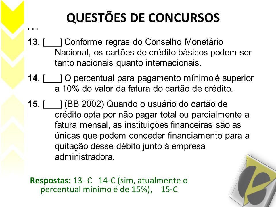 QUESTÕES DE CONCURSOS . . .