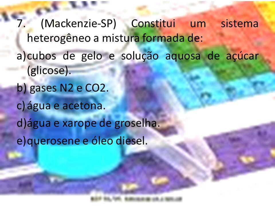 7. (Mackenzie-SP) Constitui um sistema heterogêneo a mistura formada de: