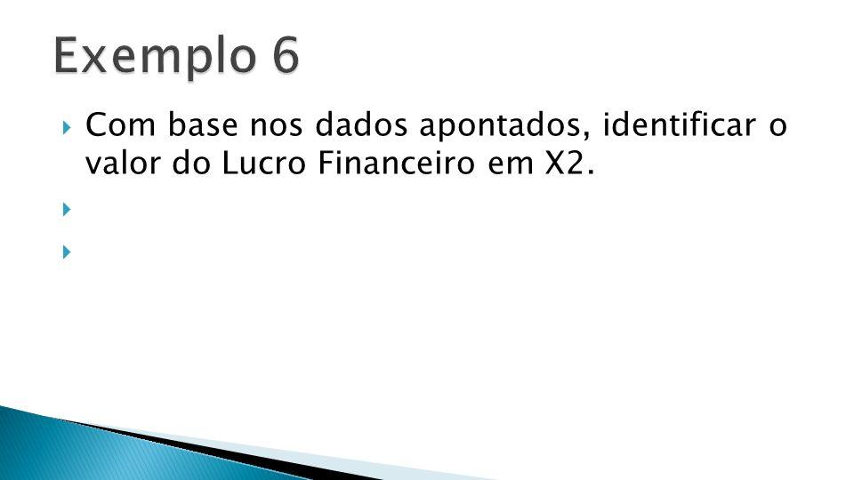 Exemplo 6 Com base nos dados apontados, identificar o valor do Lucro Financeiro em X2.