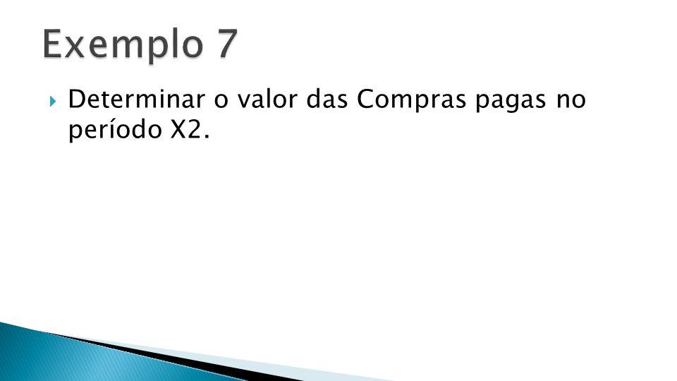Exemplo 7 Determinar o valor das Compras pagas no período X2.