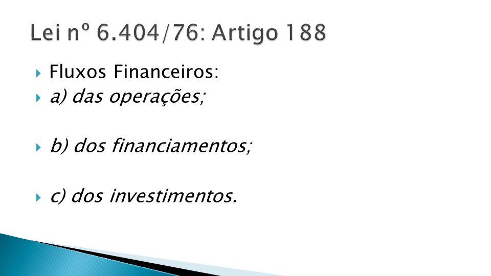 Lei nº 6.404/76: Artigo 188 Fluxos Financeiros: a) das operações;