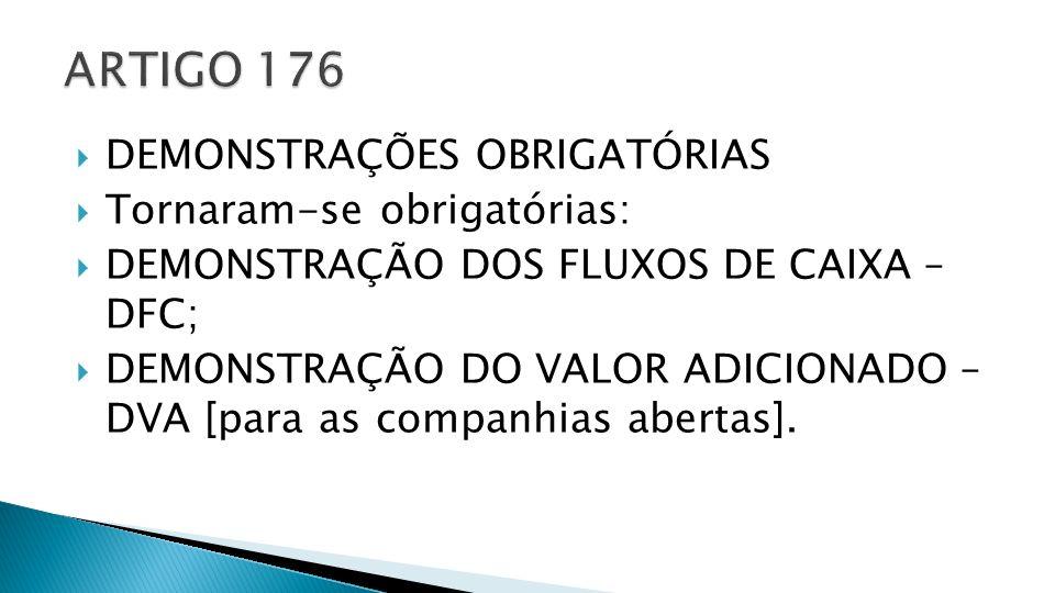 ARTIGO 176 DEMONSTRAÇÕES OBRIGATÓRIAS Tornaram-se obrigatórias: