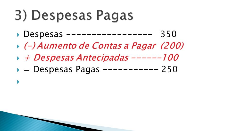3) Despesas Pagas Despesas ----------------- 350
