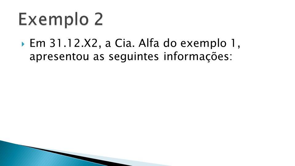 Exemplo 2 Em 31.12.X2, a Cia. Alfa do exemplo 1, apresentou as seguintes informações: