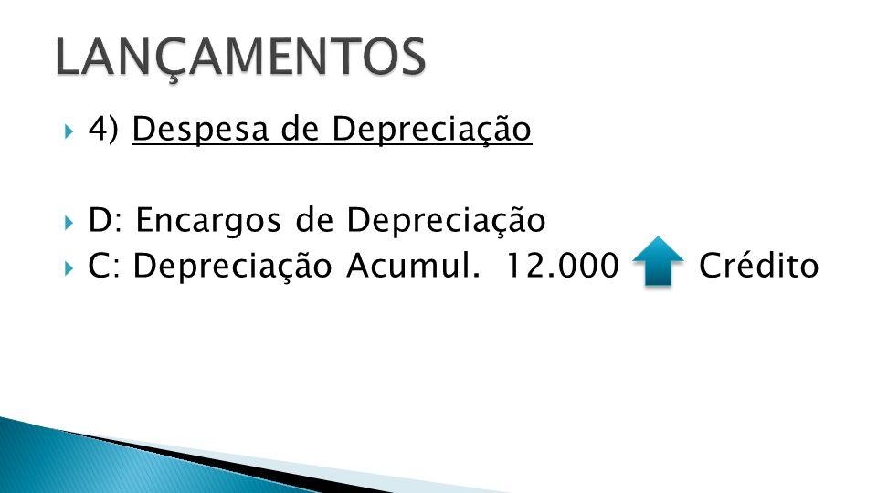 LANÇAMENTOS 4) Despesa de Depreciação D: Encargos de Depreciação