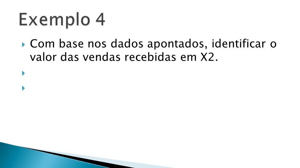 Exemplo 4 Com base nos dados apontados, identificar o valor das vendas recebidas em X2.